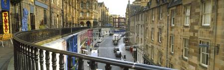 Cars on a street Victoria Street Edinburgh Scotla