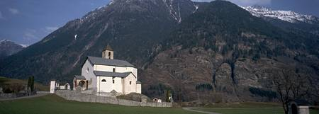 Church in front of a mountain