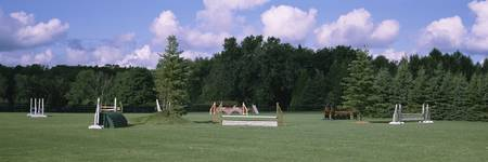 Equestrian obstacle courses in a park