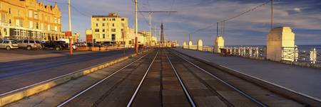 Tramways in a town Golden Mile Blackpool Lancashi