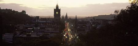High angle view of a city Princes Street Edinburg