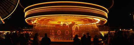 Whirling carousel at night Hull Fair Kingston Upo