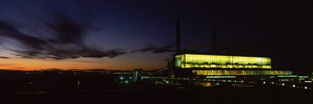 Power station lit up at night Cockenzie Power Sta