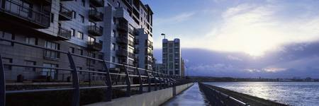 Apartment buildings at the waterfront Leith Firth