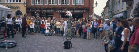 Street performer performing in a town square