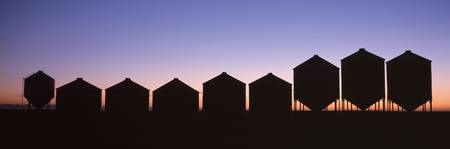 Grain Silos at Sundown