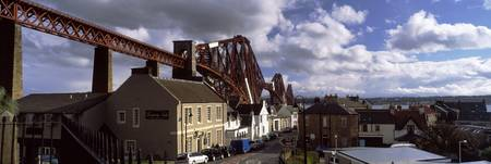 Railway bridge passing by a town Firth Of Forth R
