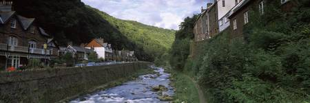 Houses at hillside West Lyn River Lynmouth Devon