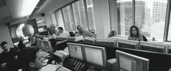 Group of business executives working in an office