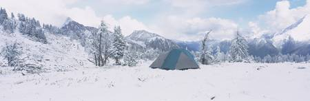 Tent on a snow covered landscape