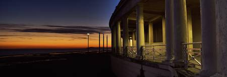 Promenade shelter at sunset Blackpool Lancashire