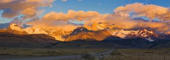 Clouds over mountains at sunrise Monte Fitz Roy A