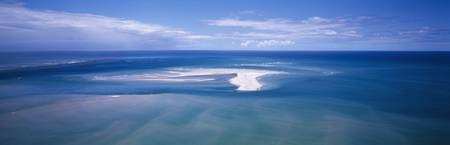 Aerial Sand Bank and Boat Camamu Bahia Brazil