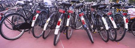 Bicycles parked in a parking lot