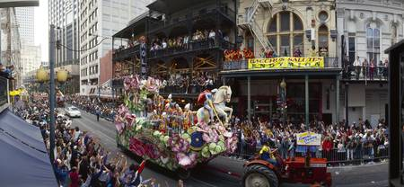 People celebrating Mardi Gras festival