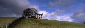 White farmhouse in a field Teesdale County Durham