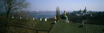 View from above of golden spires of Saint Sophia