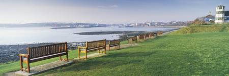 Empty benches at the riverside Tyne River Tynemou