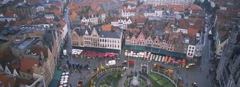 Aerial view of a town square