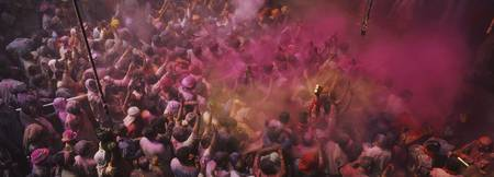 High angle view of people celebrating holi