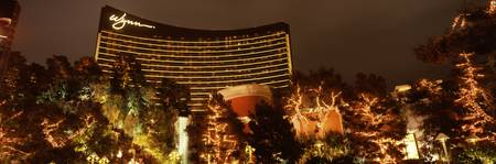 Hotel lit up at night Wynn Las Vegas The Strip La