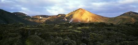 Sunlight on volcanic landscape