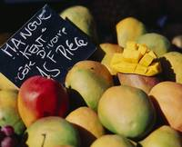 Close-up of mangoes in a market