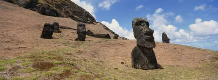Low angle view of Moai statues