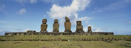 Low angle view of Moai statues in a row