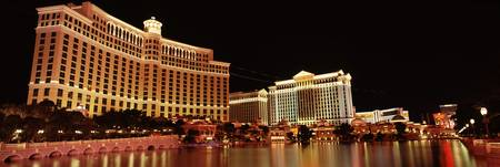 Hotel lit up at night Bellagio Resort And Casino