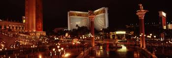 Hotel lit up at night The Mirage The Strip Las Ve