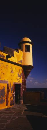 Low angle view of a lookout tower on a fort
