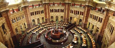 High angle view of a library reading room