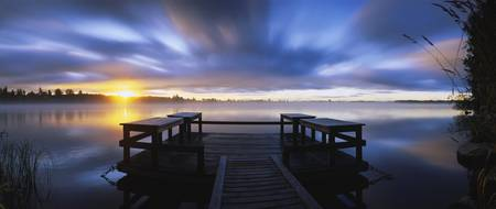 Panoramic view of a pier at dusk