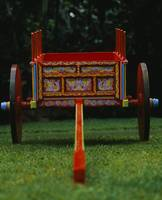 Hand painted ox cart in a park