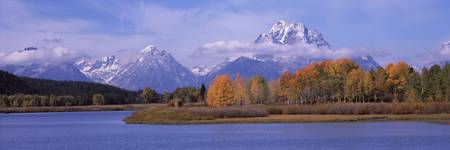River with mountains in the background Oxbow Bend