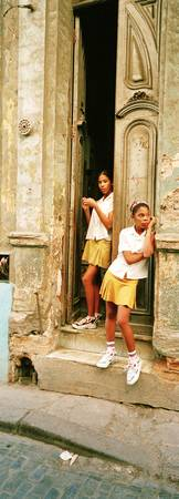 Girls in Doorway Cuba