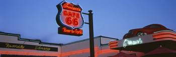 Low angle view of a road sign Route 66 Arizona