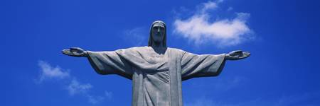 Low angle view of the Christ the Redeemer statue