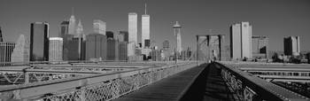 Manhattan skyline fr Brooklyn Bridge New York Cit