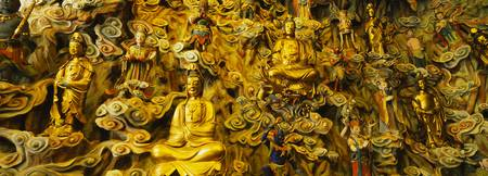 Close-up of golden statues