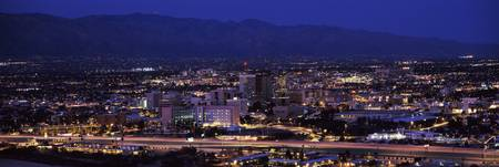 Aerial view of a city at night Tucson Pima County