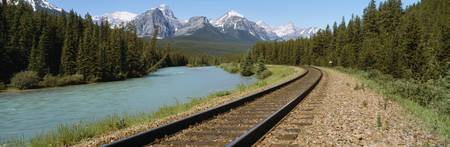 Railroad Tracks Bow River Alberta Canada