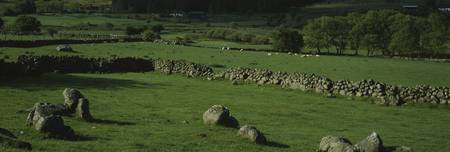 Stone wall on a field