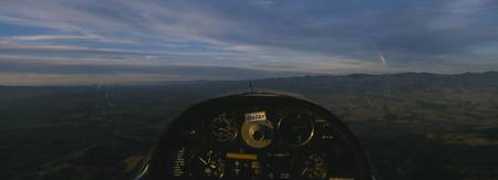 Cockpit of a glider during a ride