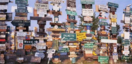 Close-up of signposts