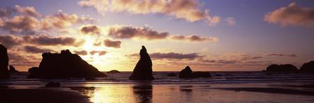 Silhouette of rock formation in the ocean Bandon