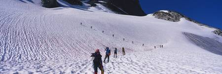 Hikers walking on snow