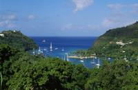 Birds-eye view of sailboats on Marigot Bay