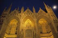 Low-angle view of Peterborough Cathedral illumina